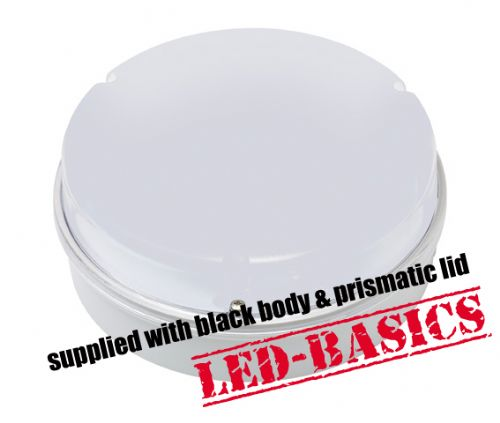 LED-Basics, Ceiling Light, Maximo 14W 2D LED Flush, Black body, Prismatic Cover